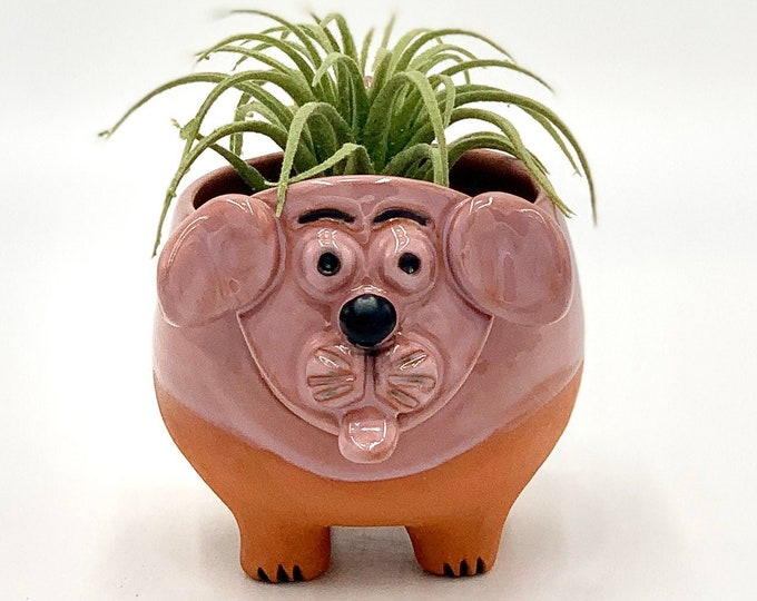Pink Dog bowl in Terracotta Clay Ceramic or Pottery Vase or Pencil Holder