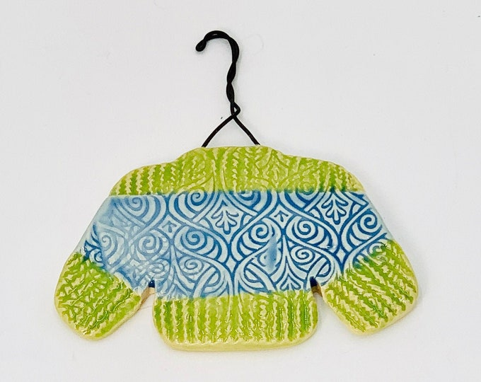 Sweater Ornament in Blue and Green, Hand Made of Ceramic