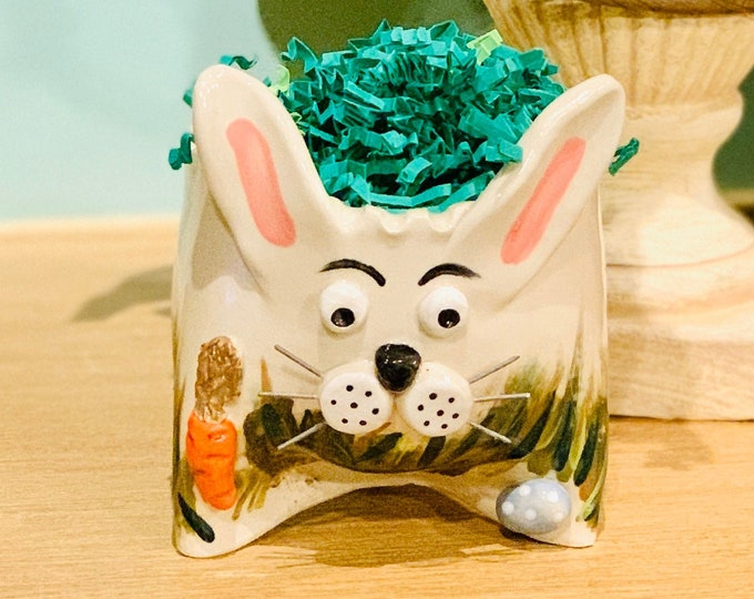 Painted Rabbit or Bunny in White Clay Ceramic or Pottery Vase or Pencil Holder