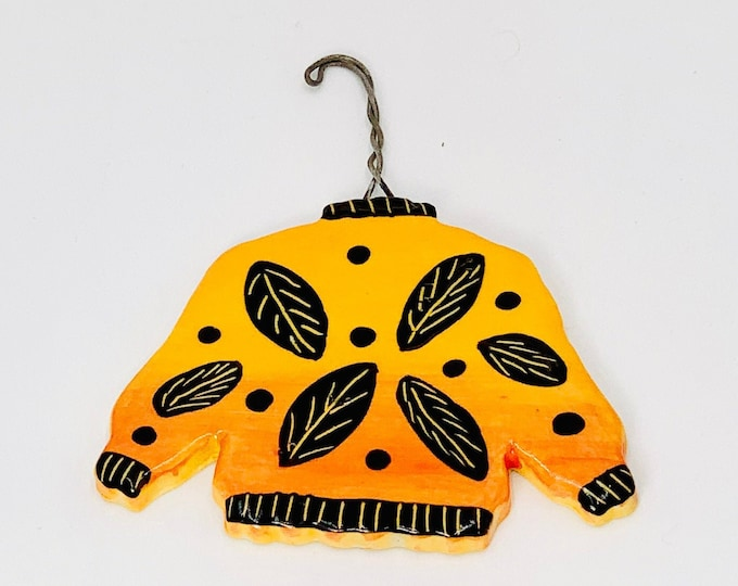 Sweater Ornament, Hand Painted and Made of Ceramic