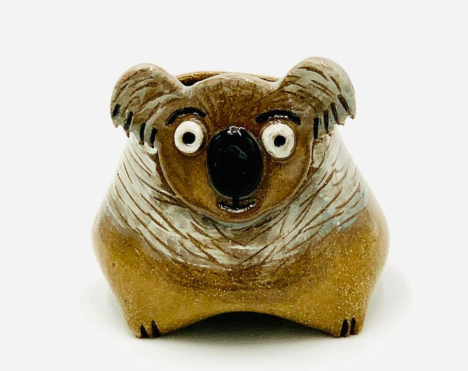 Small Koala in Brown Clay Ceramic or Pottery Animal Bowl for Pencils, Succulents, Change, Food, Candles, Trinkets or Jewelry