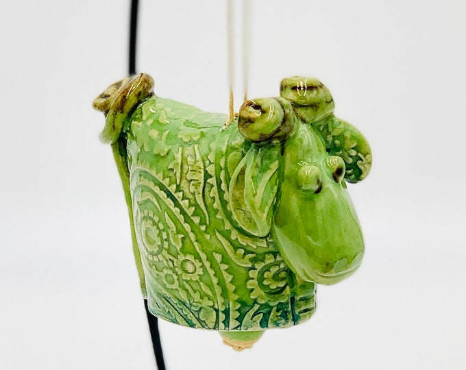 Green Paisley Sheep Bell in White Clay Ceramic or Pottery Vase or Pencil Holder