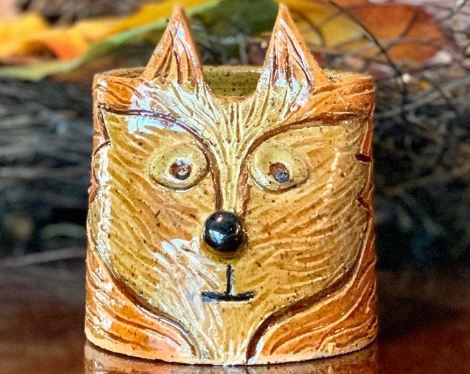 Speckled Fox Ceramic or Pottery Animal Jar for Succulents, pencils, makeup brushes or breadsticks