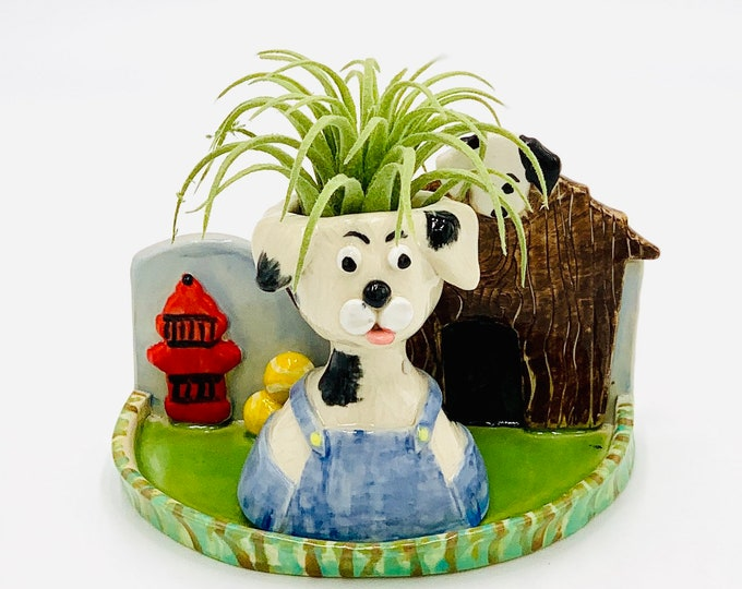 Dog and Dog House Ceramic or Pottery Planter Head or Face Pot for Succulents or Plants