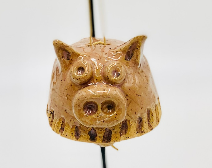 Pig Bell in Speckle Clay Ceramic or Pottery Vase or Pencil Holder