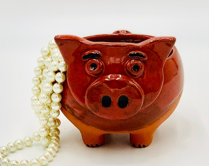 Orange Pig in Terracotta Clay Ceramic or Pottery Bowl or Pencil Holder