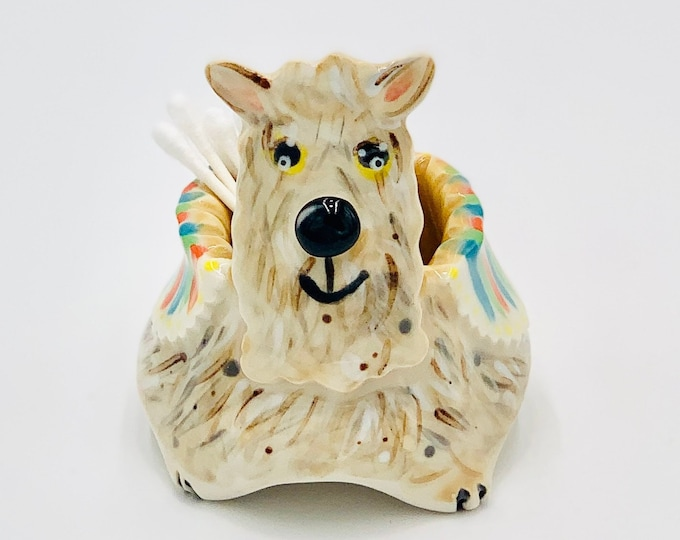 Hand Painted Llama Bowl for Succulents in White Clay