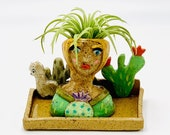 Cactus Girl Ceramic or Pottery Planter Head or Face Pot for Succulents or Plants in Speckle Clay