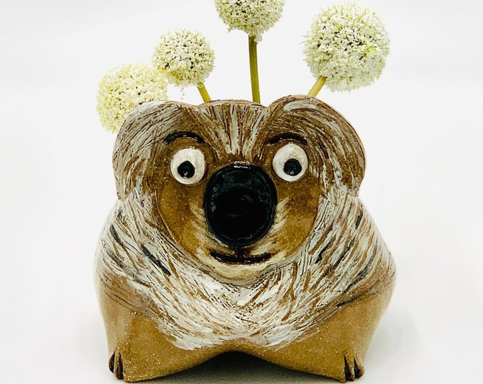 Koala in Brown Clay Ceramic or Pottery Animal Bowl for Pencils, Succulents, Change, Food, Candles, Trinkets or Jewelry