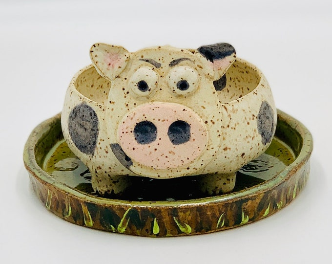 Cow Speckle Clay Ceramic or Pottery Soap Dish and Tray