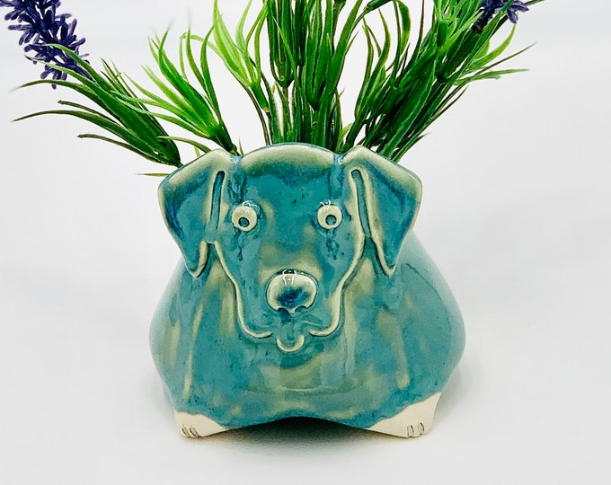 Blue Labrador Ceramic or Pottery Animal Bowl for Succulents, Change, Food, Candles, Trinkets or Jewelry in White Clay