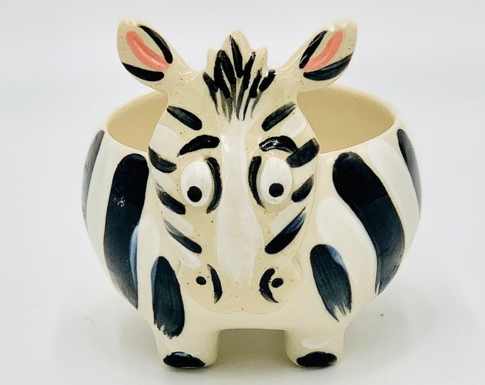Zebra in White Clay Ceramic or Pottery Vase for Succulents or Pencil Holder