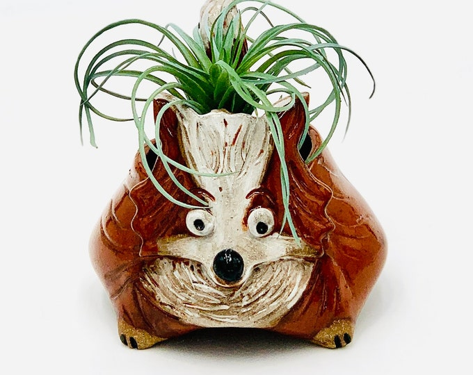 Fox Ceramic or Pottery Animal Bowl for Succulents, Change, Food, Candles, Trinkets or Jewelry in Brown Clay