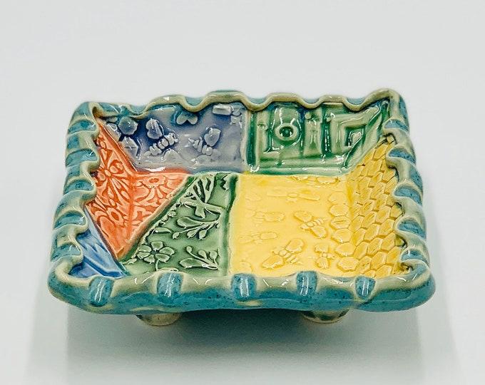 Square Crazy Quilt Pottery or Ceramic Handmade Platter or Decorative Bowl
