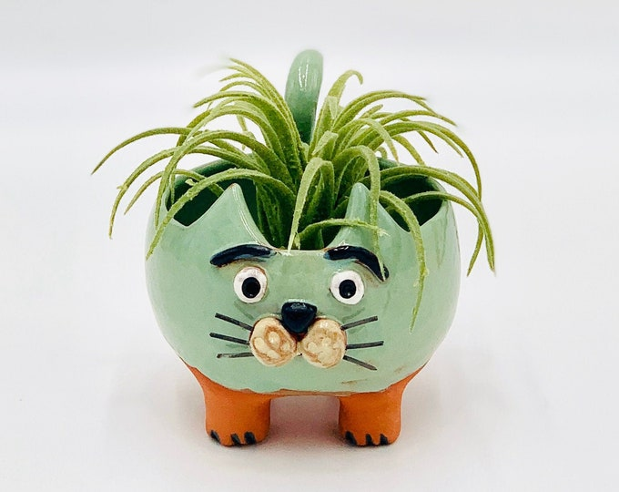 Terra-cotta  Celery Green Clay Cat Ceramic or Pottery Animal Bowl for Succulents, Change, Food, Candles, Trinkets or Jewelry