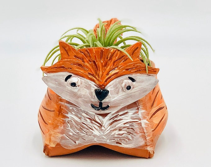 Fox in Terra Cotta Clay Ceramic or Pottery Animal Bowl for Pencils, Succulents, Change, Food, Candles, Trinkets or Jewelry