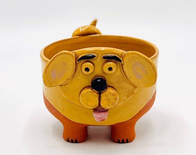 Golden Dog Bowl in Terracotta Clay Ceramic or Pottery Vase or Pencil Holder
