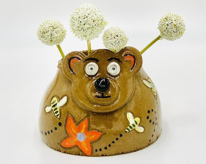 Bear Vase or Utensil/Brush Holder in Brown Clay Ceramic or Pottery