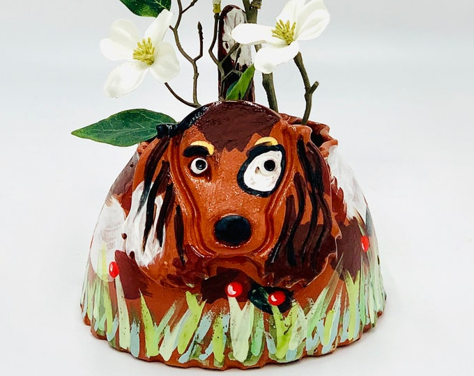 Hand Painted Dog Vase or Utensil Holder in Terra Cotta Clay Ceramic or Pottery
