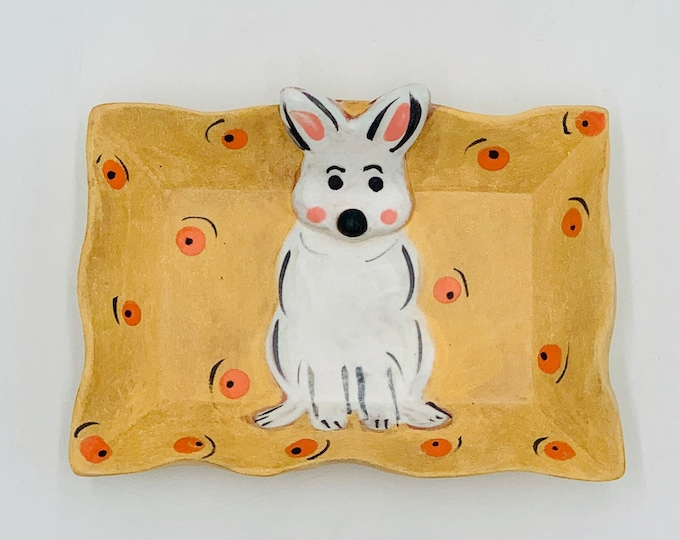 Small Bunny Terra Cotta Pottery or Ceramic Handmade Platter or Decorative Plate