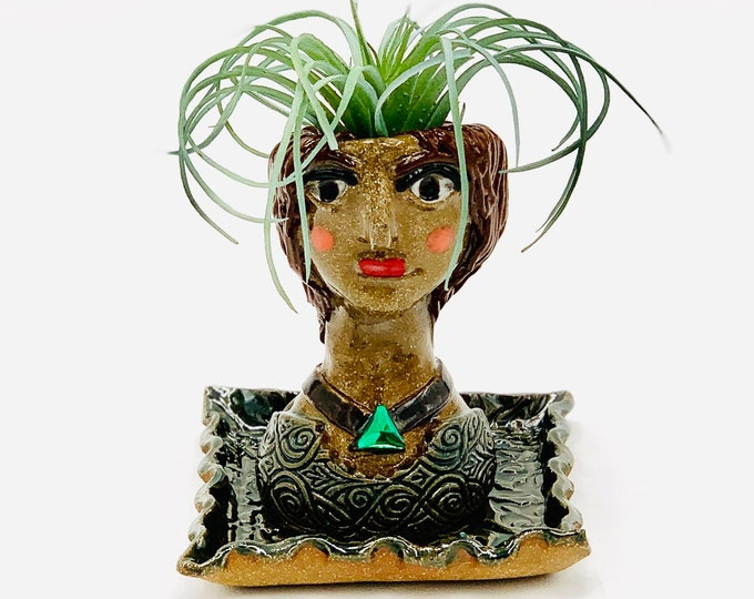 Lady in Brown Clay Ceramic or Pottery Planter Head or Face Pot for Succulents or Plants