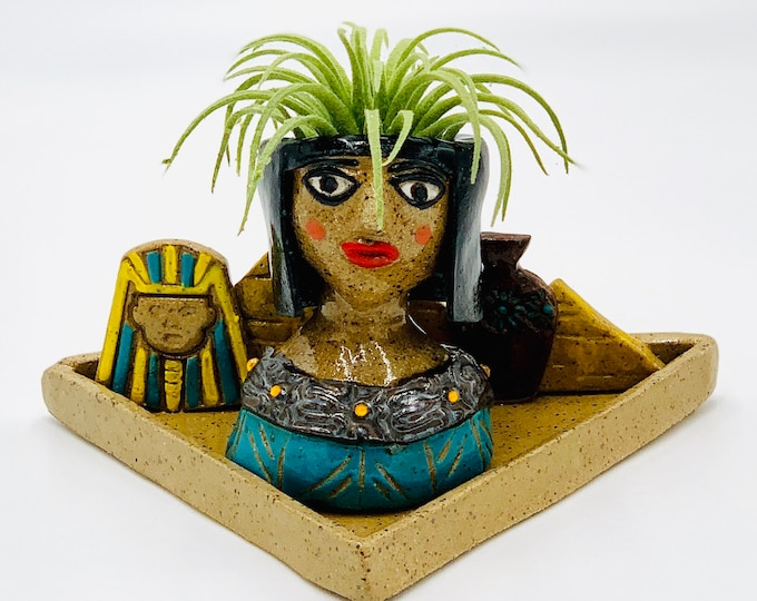 Cleopatra Ceramic or Pottery Planter Head or Face Pot for Succulents or Plants