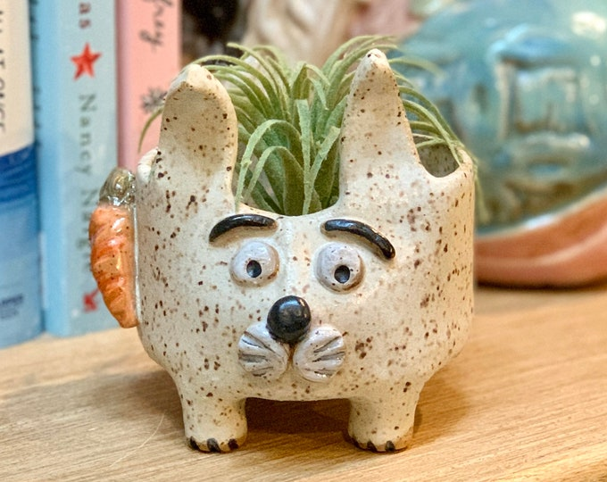 Speckled Bunny Ceramic or Pottery Animal Bowl for Succulents, Change, Food, Candles, Trinkets or Jewelry
