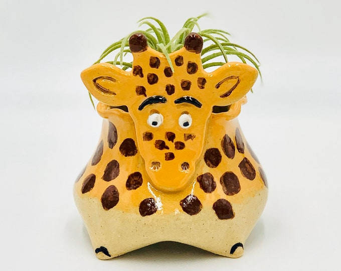 Giraffe Ceramic or Pottery Animal Bowl for Succulents, Change, Food, Candles, Trinkets or Jewelry in Stoneware