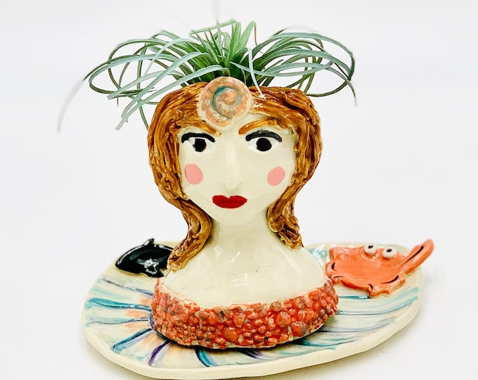 Louie the One Claw Crab and Mermaid Ceramic or Pottery Planter Head or Face Pot for Succulents or Plants