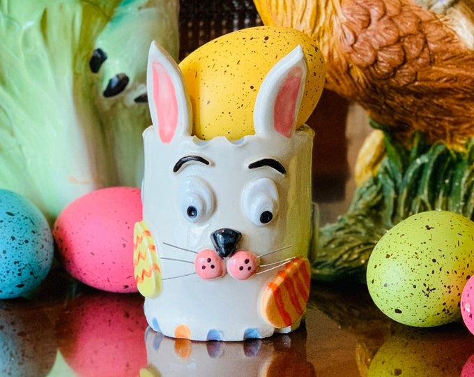 Easter Bunny White Clay Ceramic or Pottery Vase or Pencil Holder