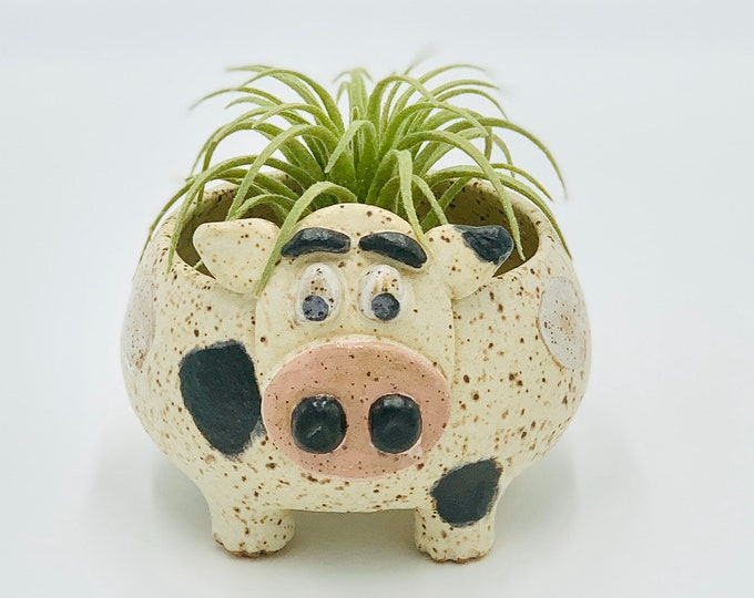Speckled Cow Ceramic or Pottery Animal Bowl for Succulents, Change, Food, Candles, Trinkets or Jewelry