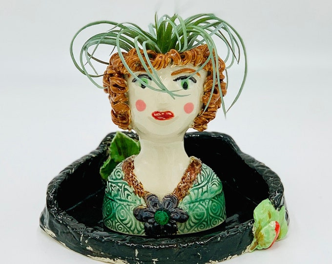 Lady in a Castle Ceramic or Pottery Planter Head or Face Pot for Succulents or Plants