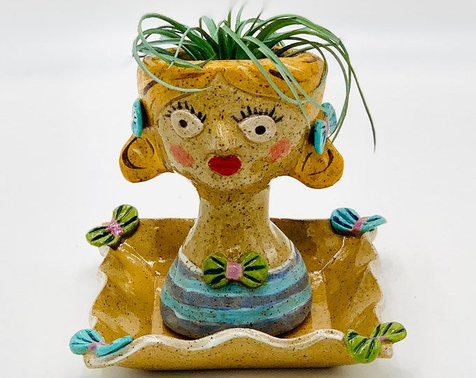 Girl in Bows Speckle Ceramic or Pottery Planter Head or Face Pot for Succulents or Plants