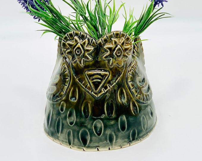 Owl Vase or Utensil Holder in White Clay Ceramic or Pottery Vase or Pencil Holder