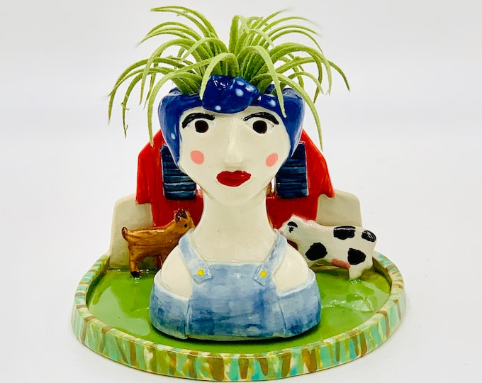 Farm Girl Ceramic or Pottery Planter Head or Face Pot for Succulents or Plants