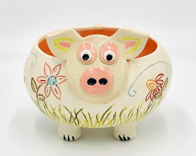 Carved Floral Pig Bowl in White Clay Ceramic or Pottery Planter, Candy Bowl or Serving Dish