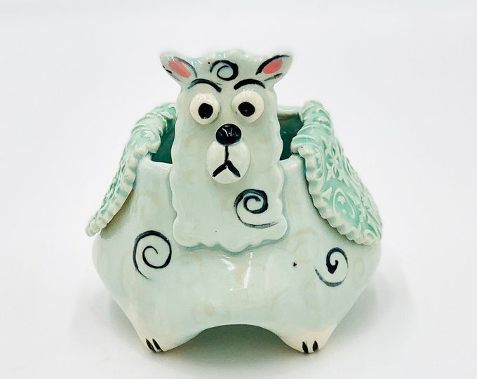 Llama Bowl for Succulents or Pen Holder in Pale Blue Glaze and White Clay
