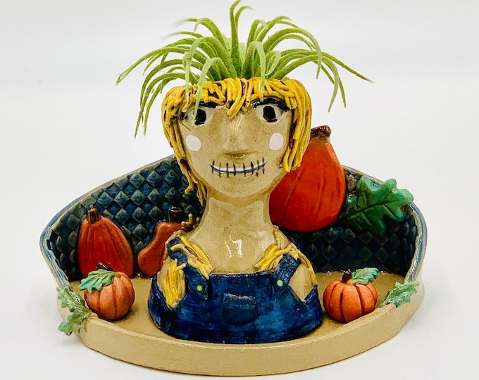 Scarecrow in Buff clay Ceramic or Pottery Planter Head or Face Pot for Succulents or Plants