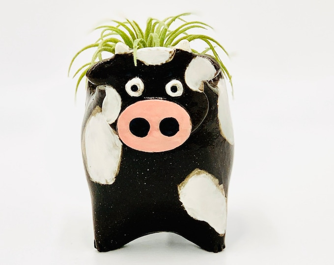 Cow in Black Clay Ceramic or Pottery as a Vase, Succulent Pot, Brush or Pencil Holder