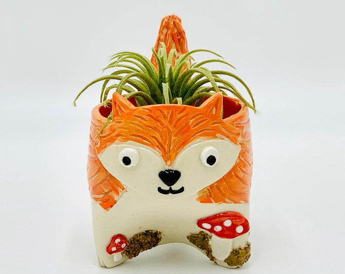 Painted Fox with Mushrooms Ceramic or Pottery Vase, Succulent Pot or Pencil Holder in White Clay