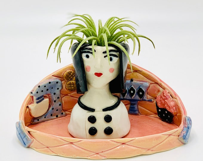 Bakery Ceramic or Pottery Planter Head or Face Pot for Succulents or Plants
