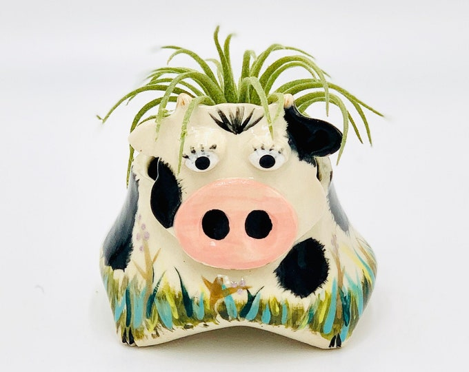 Cow Ceramic or Pottery Animal Bowl for Succulents, Change, Food, Candles, Trinkets or Jewelry in Stonewear