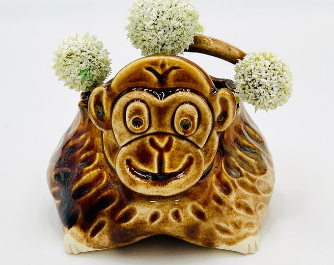 Monkey Bowl for Succulents or Pen Holder in White Clay