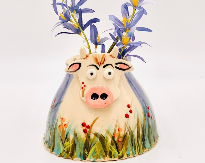 Hand Painted Cow Vase or Utensil Holder in White Clay Ceramic or Pottery