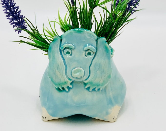 Spaniel Ceramic or Pottery Animal Bowl for Succulents, Change, Food, Candles, Trinkets or Jewelry in White Clay