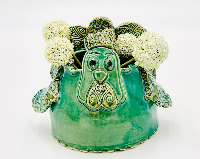Jade Green Rooster Vase or Utensil Holder in White Clay Ceramic or Pottery