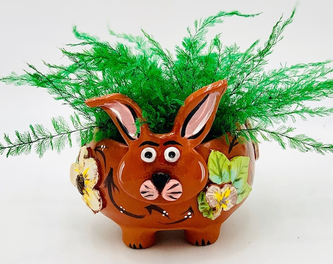 Rabbit or Bunny in Terracotta Clay Ceramic or Pottery Bowl or Succulent Planter