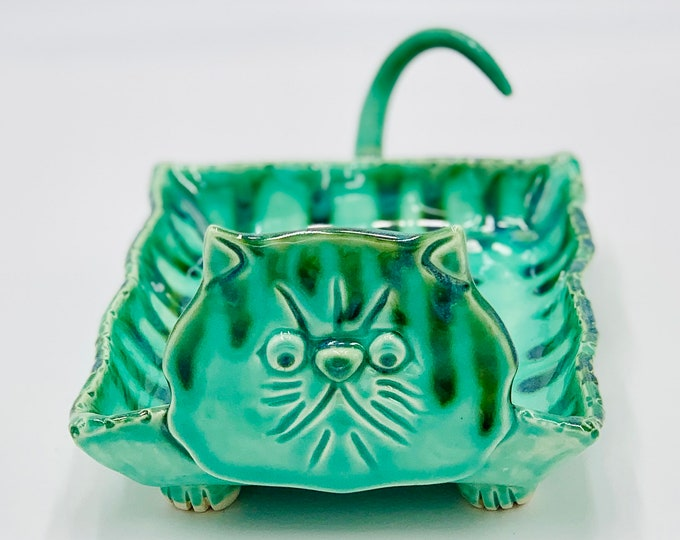 Cat Bowl  or Tray in Mint Green
