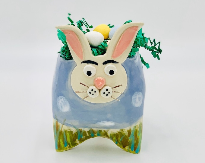 Painted Polka Dot Bunny or Rabbit Ceramic or Pottery Vase or Pencil Holder in White Clay
