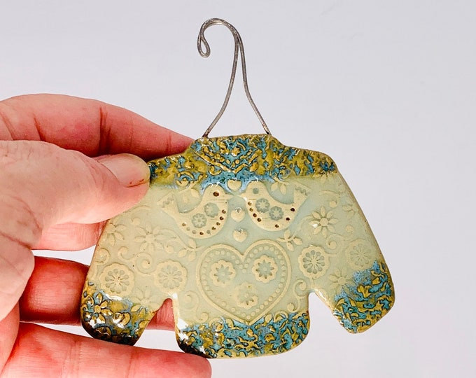 Sweater Ornament in Blue and Sage Green, Hand Made of Ceramic